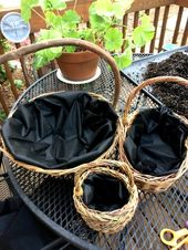 The best way to create a straightforward container backyard utilizing baskets from a resale store.