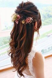 half up half down hair prom long curly flower –