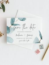 Invitations  Eucalyptus Save the Date Template invitation, Save The Date Greenery, Printable Save The Date, Save