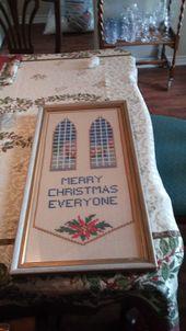 Photo of Vintage gerahmte handgemachte Weihnachten Kreuzstich Bild Frohe Weihnachten Jeder Snowy Scene