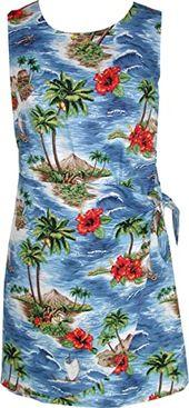 Buy RJC Women Red Hibiscus Island Mock Wrap Side Tie Sarong Dress online