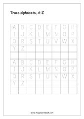 English Worksheet – Alphabet Tracing – Capital Letters Tracing A to Z