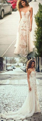 Boho Prom Dresses, A-Line Spaghetti Straps Tulle Beach Wedding Dress, Boho Wedding Gown with Lace OHbridal