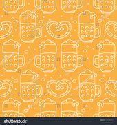 Seamless pattern with Oktoberfest food, beer mugs and pretzel. October beer fest…