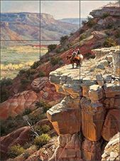Western Cowboy Ceramic Tile Mural Backsplash 18″ x 24″ – The Intruders by Jack Sorenson – Kitchen Bathe Decor