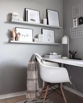 Arbeitsbereich in hellgrau – Einrichtungsideen – Zimmer