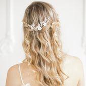 Gold Perlmutt Blume und Blatt Haarnadeln, Floral Blatt Hochzeit Haarnadeln, Gold Braut Haarnadeln