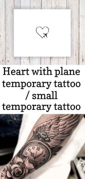 Heart with plane temporary tattoo / small temporary tattoo / travel temporary tattoos / airplane t 9