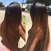 Details about Full Shine Long Length Wigs Lace Front Wig with Baby Hair Human Hair Ombre 1B/30