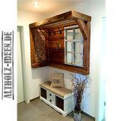 Kleiderschrank aus Altholz und Brennholz als Blickfang im Eingangsbereich. Praktisch … #als #alt