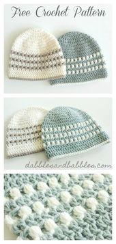 Baby Carrier Puff Stitch Baby Beanie Hat Free Crochet Pattern #freecrochetpatterns #crochetha...