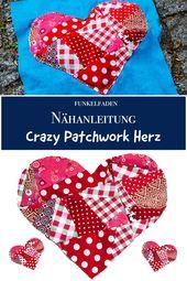 Baby Blanket Gratis Nähanleitung - Kissen mit Crazy Patchwork für Valentinstag DIY