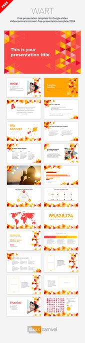 Have a professional presentation ready in minutes with this multipurpose free template. This design features a modern pattern of triangles in warm col…