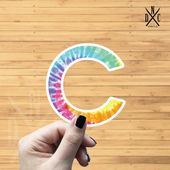 "Letter ""C"" Tie Dye Vinyl Sticker, Best Friend Gift, Laptop Decals, Name Stickers, Monogram, Macbook"