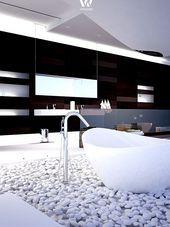 Die Weissen Steine Am Boden Geben Diesem Futuristischen Badezimmer Tatsachlich Traumhafte Badezimm Badezimmer Boden Badezimmerboden Traumhafte Badezimmer