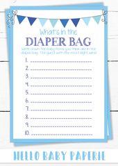 Baby Shower Game, Boy Baby Shower, Blue Baby Shower, Diaper Bag Game, Baby Shower Ideas, Little Man Baby Shower, 1087  – Baby Shower Ideas & Inspiration & Games