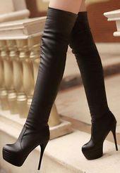Tendance chausseurs : Girls Trend Over Knee Type Excessive Heel Boots in BLACK
