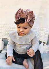 Winter Mauve: (Velvet) Flat bow, child turban hat with bow -newborn hat – child bow hat, velvet child hat