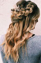 39 wunderschöne halb hoch halb runter Frisuren, flechten halb hoch halb runter Frisuren, teilweise Hochsteckfrisur Frisur, Braut Haar, Boho Frisur # Haar # Frisuren ...