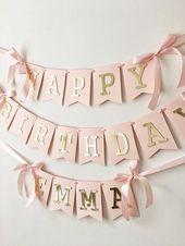 Erröten Sie Rose Gold Happy Birthday Banner personalisierte Mädchen 1. Geburts… – Gastgeschenke