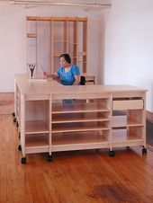 Art Studio desk with drawers and art storage shelves for storing art and art sup…