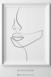 Einfache eine Linie, die Gesichtsabbildung zeichnet. Minimalistischer Originaldruck Wandkunst. EIN