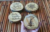 Photo of Holz verbrannt, Baumscheiben, 4er-Set, Weihnachtsdekoration, Weihnachtsdekoration, einzigartiges Geschenk, einzigartig