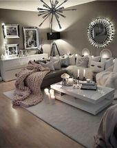 Neutrales graues Wohnzimmer – liebe diese Farben für mein Wohnzimmer! #HomeDeco …   – Stricken ideen