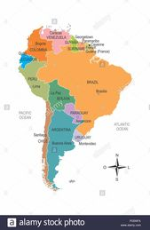 Colorful Map Of South America With Division Of Countries And Their Capitals In 2020 Colorful Map South America Map South America