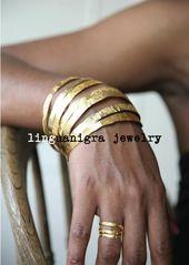 BESTSELLER – Bracelet en laiton plaqué or gravé à la main – 1 bracelet simple – 2-3 semaines pour expédier