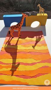 Afrikanischer Sonnenuntergang-Schatten, der Kunst verfolgt – Zähmen der kleinen Monster