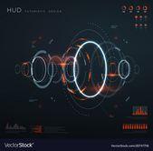Futuristic virtual hud interface. Technology digital screen with control panels, chart, diagrams. Conceptual future vector infographic. Virtual futuri…