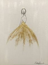 Girl Princess Painting Gold Painting On Watercolor Paper Wall Art Original Painting gold dress Nursery Wall Decor Painting by Julia Kotenko