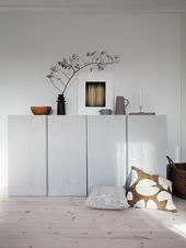 Home Decorating Ideas Modern Living room sideboard cabinet storage Ikea Ivar Hack lacquered light gray white deco …