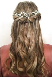Baby breath stuck in bridal hair half up half down hairstyle idea #MediumHa #brauthaar #frisur #steck #mediumha