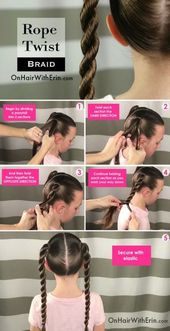 Hairstyles For School Step By Step Kids Rope Twist 21+ New Ideas #hairstyles #hairstyles for school step by step Hairstyles For School Step By Step Ki…