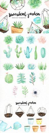 Succulent Garden Watercolor Cliparts by everysunsu…