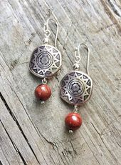 Silver earrings, silver jewelry, red earrings, sou – women's jewelry and accessories