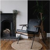 Wickham Industrial Wood Armchair, Leatherette Upholstery, Black Cult Furniture …