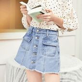 Retro Blue High Waist Front Buttons Denim Skort