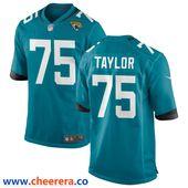 Men's Jacksonville Jaguars #75 Jawaan Taylor Teal Blue Stitched ...