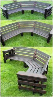 This is also a creative piece of the pallet garden round bench. The round frami  – Garten Dekoration