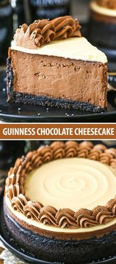 Guinness Chocolate #cheesecake is made with a Guinness-filled chocolate filling,…