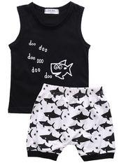 Frühling / Sommer ärmelloses beiläufiges Baby-Kleidungs-Set mit bedrucktem T-Shirt und Shorts (2 Stück) 6-24M   – Misc