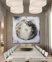 Circle of Balance, Large Contemporary painting, Zen, Textured, Palette Knife, Commission painting, Gold and Silver Leaf