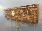 Jewelry Organizer Wall, Earring Holder, Jewelry Organizer, Jewelry Holder, Earring Storage, Boho Wall, Necklace Storage, Jewelry Storage