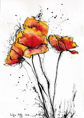 Red poppy art print, 8×6, 8×12, 6×12, A5, A4, A3, select size, canvas sheet, watercolor flowers- 8×1