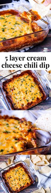 5 Layer Cream Cheese Chili Dip
