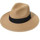 Womens Wide Brim Straw Panama Hat Fedora Summer Beach Sun Hat UPF50 – Hiking & Camping
