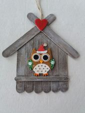 Make owl on house with icy stalks